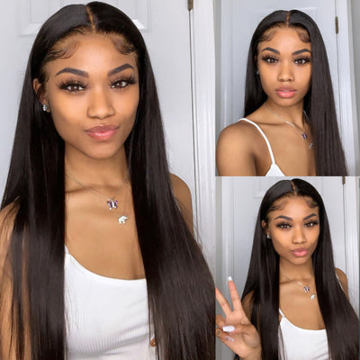Lace Front Human Hair Wigs Straight Brazilian Hair