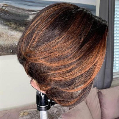 Pixie Cut Wig Deep Parting Lace Front Wig Highlight BOB