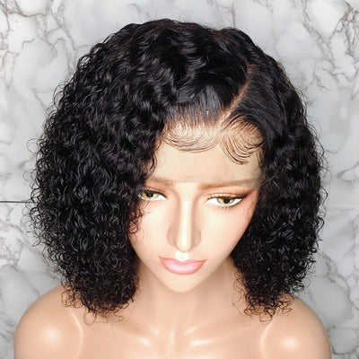 Short 370 Lace Wigs Curly Human Hair Bob Wigs