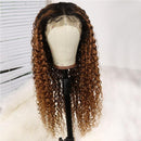 140% Human Hair Curly Wigs Brown/Reddish Color