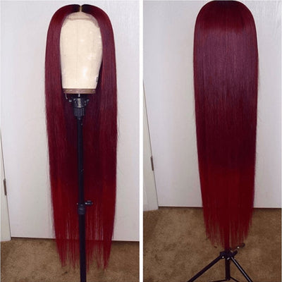 (OVER $48 FREE SHIPPING TODAY)Top Quality Wig Burgundy Brazilian Virgin Hair Reddish Straight/Curly