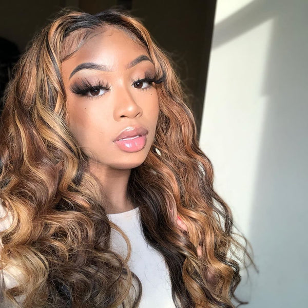 2020 Hot Brown Mixed Gold Girl Hair Body Wave Wig