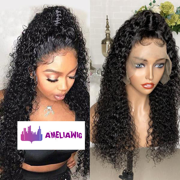 Brazilian Deep Curly Lace Front Wigs Pre Plucked