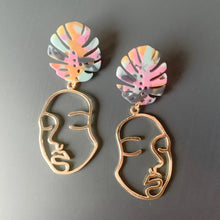 Load image into Gallery viewer, Mrs. Gele // Brass & Acrylic Earrings