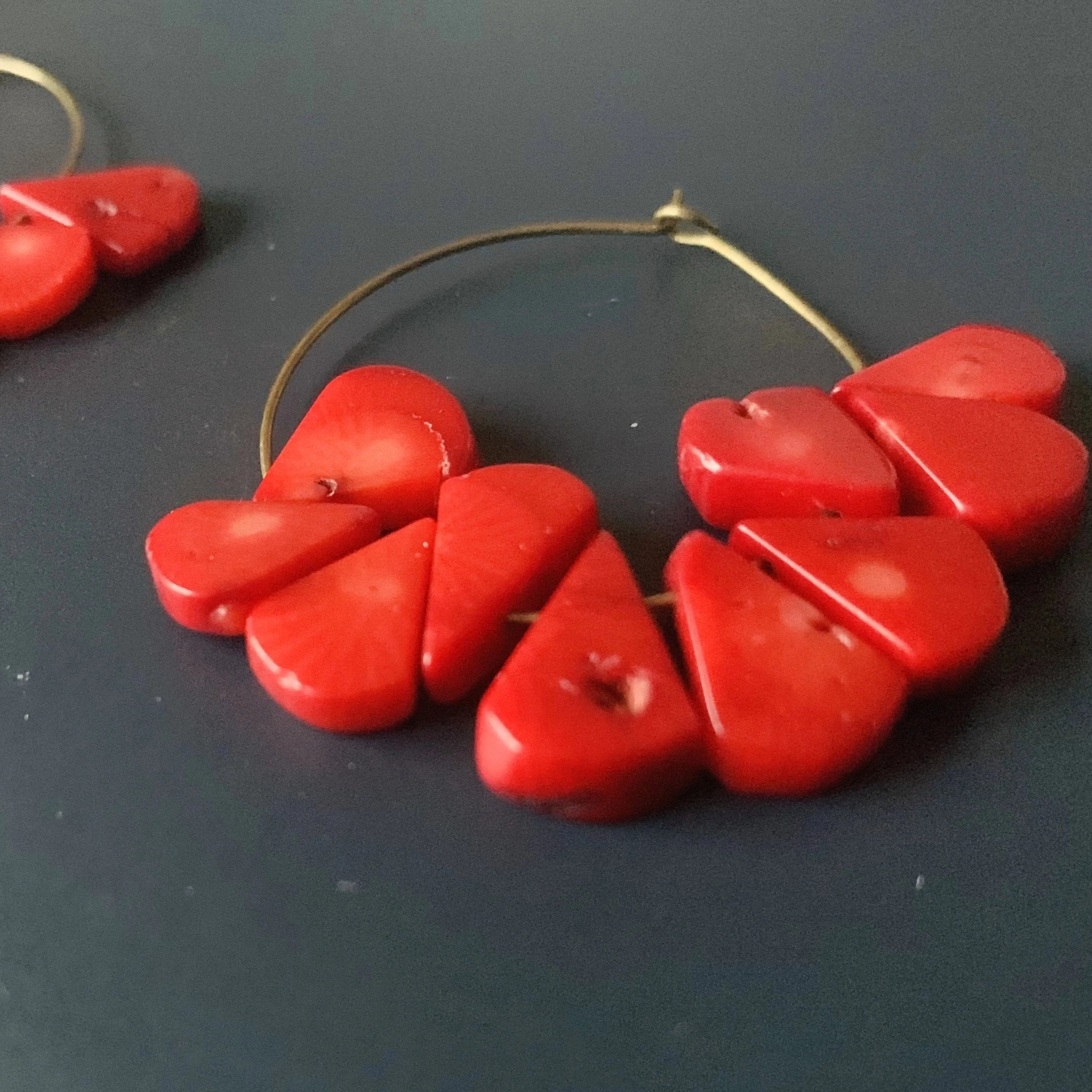 Hot Mamma // Red Coral Hoop Earrings