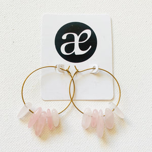 Amor // Rose Quartz Hoop Earrings