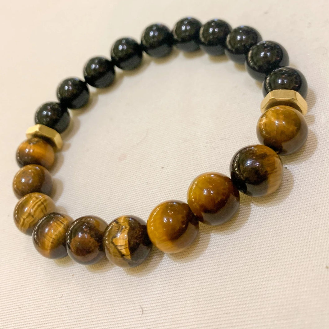 Mixed Emotions // Onyx + Tigers Eye Stretch Bracelet