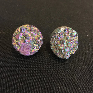 Super Star // Multi Iris Coated Druzy Agate Stud Earrings