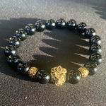 He's Royal | Black Onyx & Gold Plated Bracelet