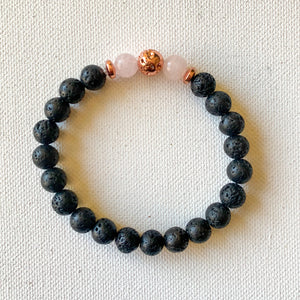 Luxe Noir // Pink Jade and Lava Bracelet