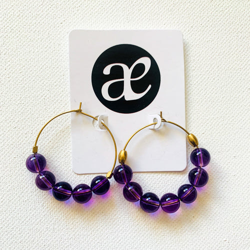 Intuition // Amethyst & Brass Hoop Earrings