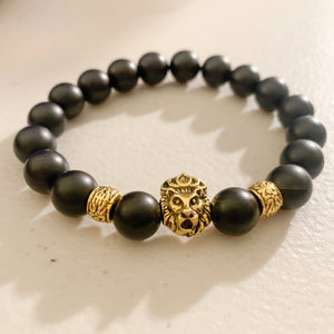 He's Royal 1.5 | Matte Black Onyx & Gold Plated Bracelet