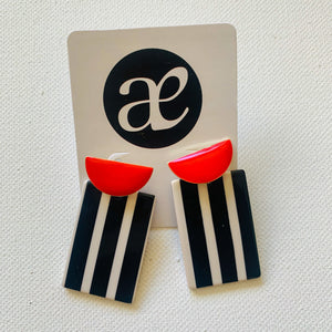 Red Between the Lines // Acrylic Earrings