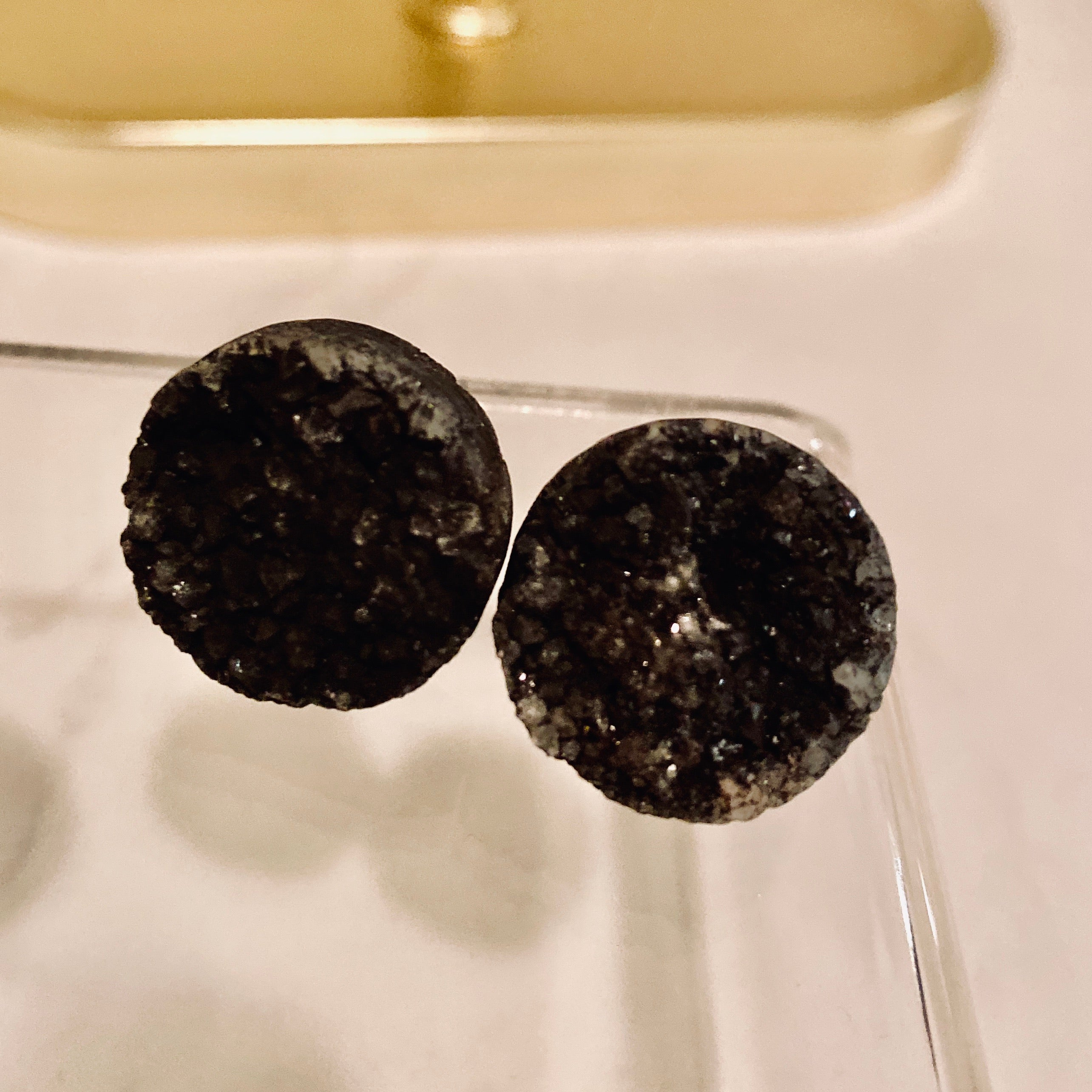 Sable //  Druzy Agate Stud Earrings
