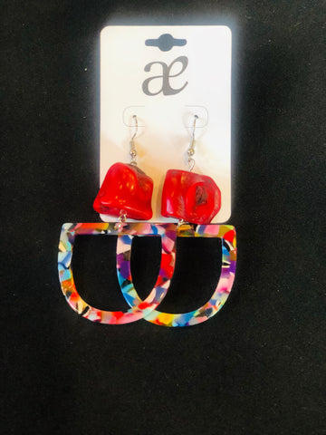 Acrylic & Coral Earrings