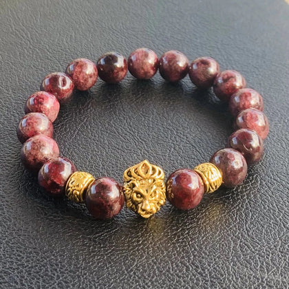 He's Royal 2 // Garnet & Gold Plated Bracelet