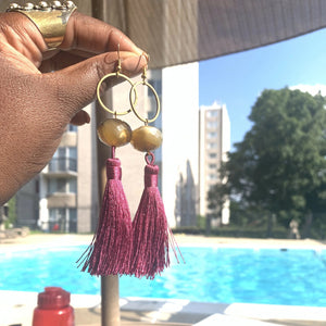 Summer Time Freedom// Brass + Rutilated Quartz Tassel Earrings