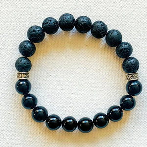 Noir Mixed Emotions // Black Onyx & Lava Bracelet