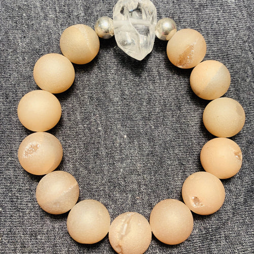 Go Set Go // Neutral Druzy Quartz + Clear Quartz Bracelet