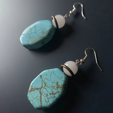 Brandi's Wit //Turquoise and Moonstone Hexagon Earrings