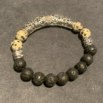 Load image into Gallery viewer, The Papi // Dalmatian Jasper & Lava Bracelet