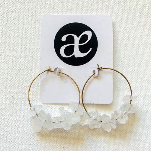 Ice // Clear Quartz Hoop Earrings