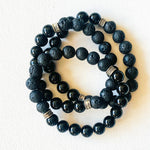 Load image into Gallery viewer, Noir Mixed Emotions // Black Onyx & Lava Bracelet