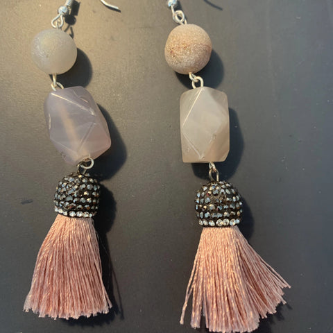 Christen's Class // Moonstone + Druzy Quartz + Tassel Earrings