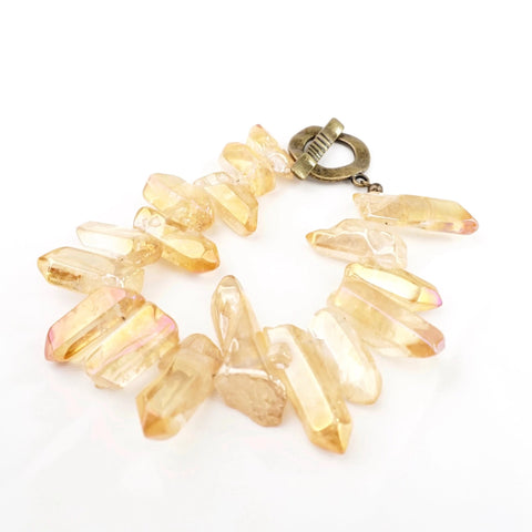 Amber // Amber Quartz with Circle Toggle Bracelet