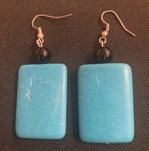 Straight Tenacity // Turquoise & Onyx Rectangle Earrings