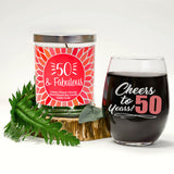 """Cheers to 50 Years!"" Wine Glass and ""50 & Fabulous"" Citrus Peach Candle Gift Set"