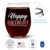 """Happy Birthday!"" Wine Glass and ""I Love That You're My Mom"" Wild Huckleberry Candle Gift Set"