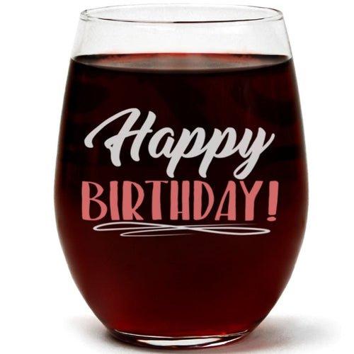 Clear Stemless Wine Glass for Fun Birthday Present with Gift Box - 15 Ounces (Happy Birthday)