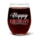 """Happy Birthday!"" Wine Glass and ""I Love You To The Moon And Back"" Lavender and Lemongrass Candle Gift Set"