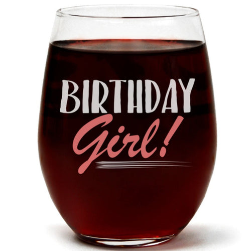 Clear Stemless Wine Glass for Fun Birthday Present with Gift Box - 15 Ounces (Birthday Girl)