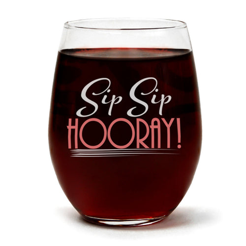 Clear Stemless Wine Glass for Fun Birthday Present with Gift Box - 15 Ounces (Sip Sip Hooray)