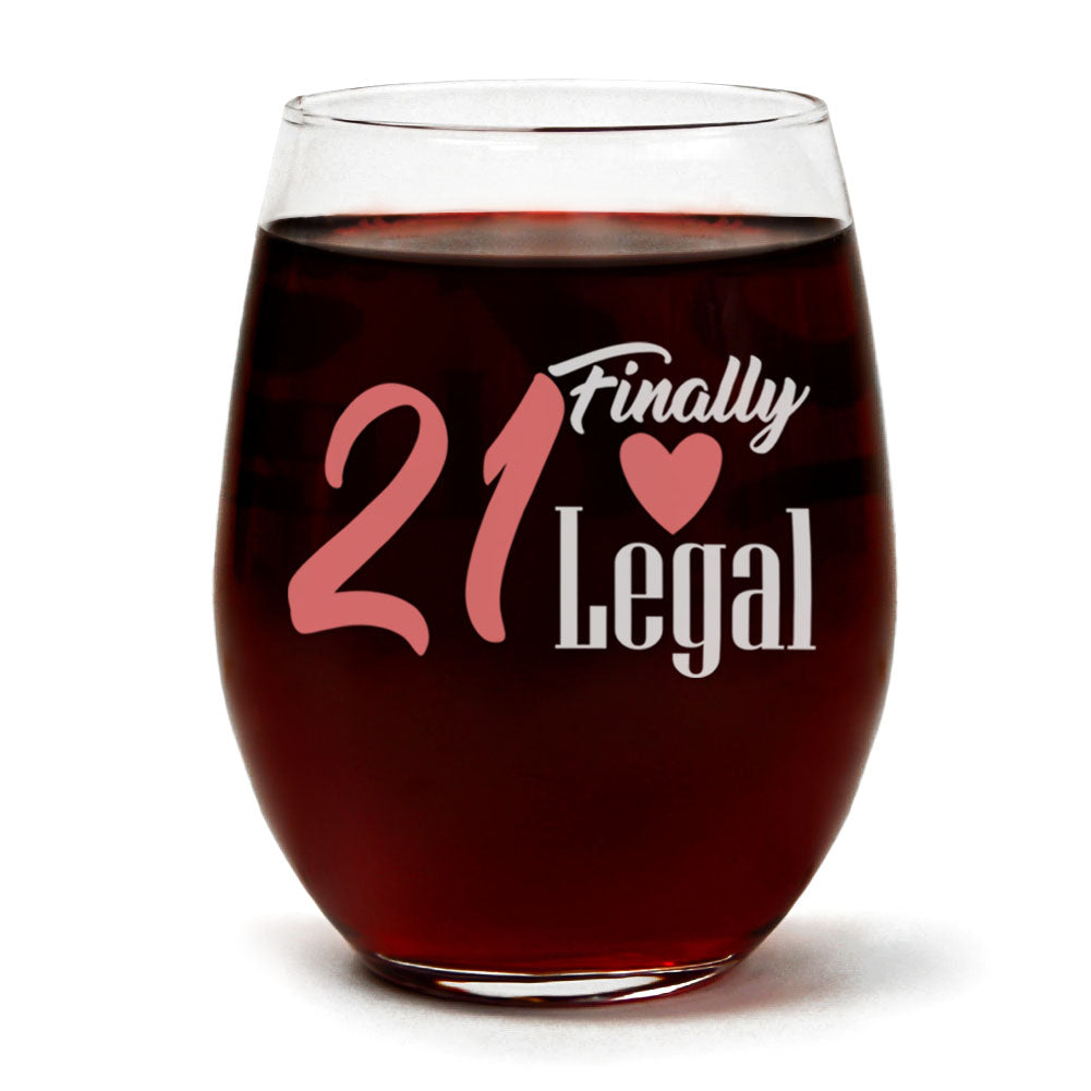 Clear Stemless Wine Glass for Fun Birthday Present with Gift Box - 15 Ounces (21 Finally Legal)