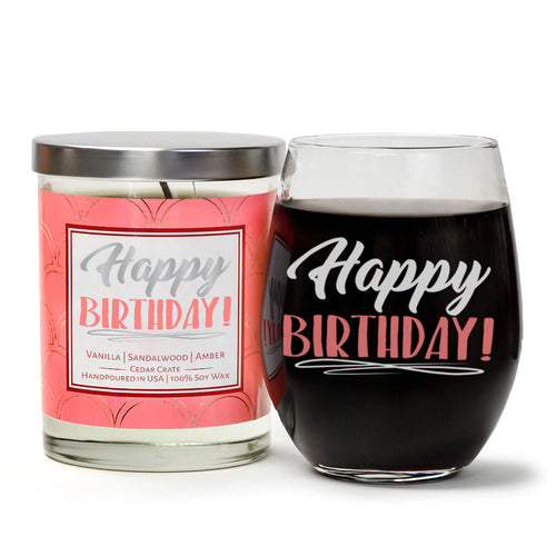 Happy Birthday Wine Glass and Candle Gift Set | Vanilla, Sandalwood, Amber Scented Candle with Gift Box