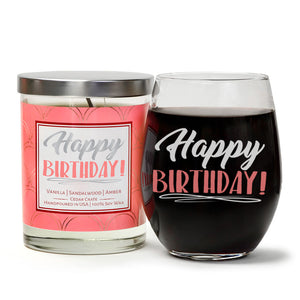 """Happy Birthday"" Wine Glass and Vanilla Sandalwood Candle Gift Set"