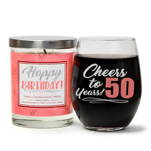 """Cheers to 50 Years"" Wine Glass and ""Happy Birthday"" Vanilla Sandalwood Candle Gift Set"
