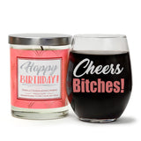 """Cheers Bitches!"" Wine Glass and ""Happy Birthday"" Vanilla Sandalwood Candle Gift Set"