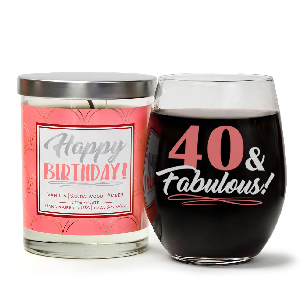 40 & Fabulous Birthday Wine Glass and Candle Gift Set | Vanilla, Sandalwood, Amber Scented Candle with Gift Box