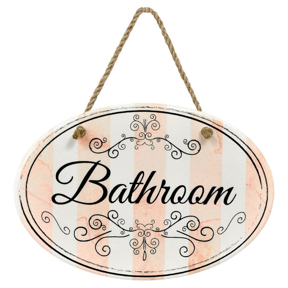 """Bathroom"" Pink Stripe 