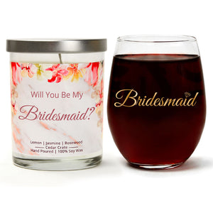 """Bridesmaid"" Wine Glass and ""Will You Be My Bridesmaid?"" Jasmine Blossom Candle Gift Set"