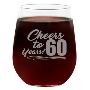 Cheers to 60 Years | 21oz Engraved Stemless Wine Glass