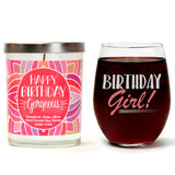 """Birthday Girl!"" Wine Glass and ""Happy Birthday Gorgeous"" Bamboo Forest Candle Gift Set"