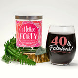 """40 & Fabulous"" Wine Glass and ""Hello Forty"" Spiced Tobacco Flower Candle Gift Set"