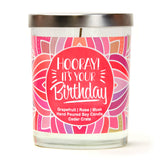 """Birthday Girl!"" Wine Glass and ""Hooray! It's Your Birthday"" Bamboo Forest Candle Gift Set"