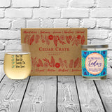 """Bra Off, Hair Up, Sweats On, Wine Gone"" Wine Glass and ""I Can't Adult Today"" Bamboo Forest Candle Gift Set"