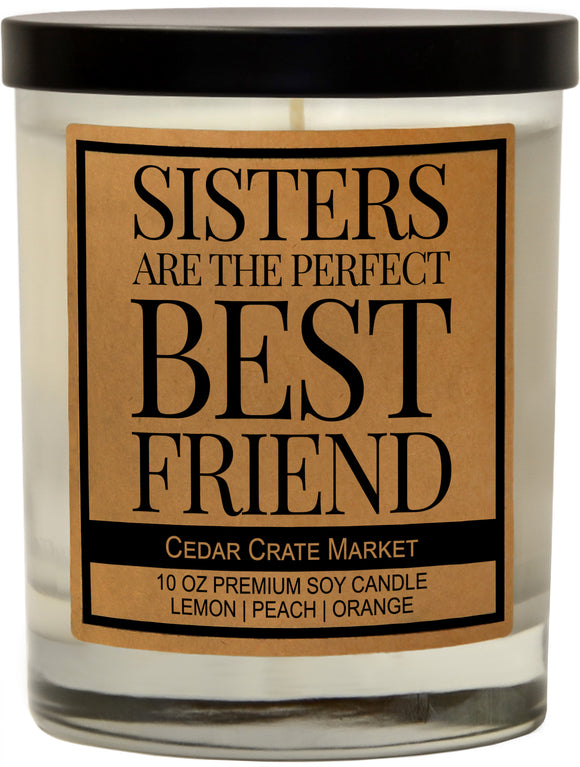 Sisters Are The Perfect Best Friend, Kraft Label Scented 100% Soy Candle, Lemon, Peach, Orange